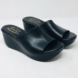 Kork-ease wedge Greer Sandal Leather black 6